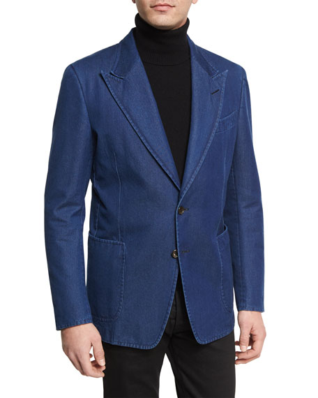 TOM FORD Washed Denim Peak-Lapel Sport Jacket, Dark