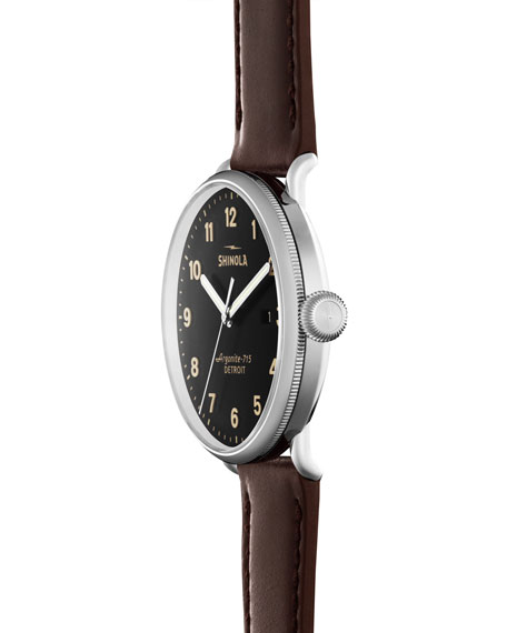 Men's 43mm Canfield Leather Strap Watch, Red