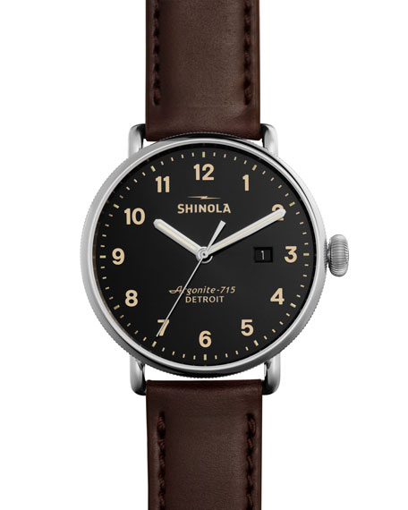 THE CANFIELD LEATHER STRAP WATCH, 43MM