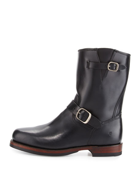 John Addison Leather Engineer Boots, Black