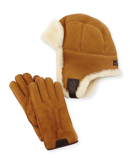 Ugg Men's Sheepskin Trapper Hat and Gloves Set (Chestnut)