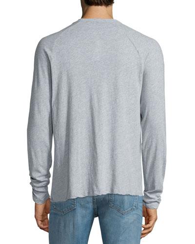 James Perse Melange Jersey Henley T Shirt Light Blue