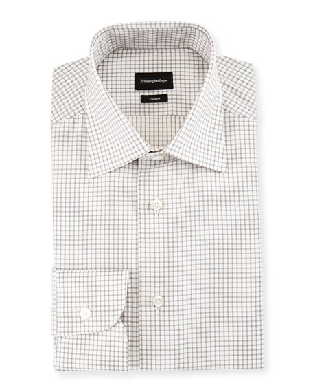 Ermenegildo Zegna Trofeo Slim-Fit Box-Check Dress Shirt, Gray