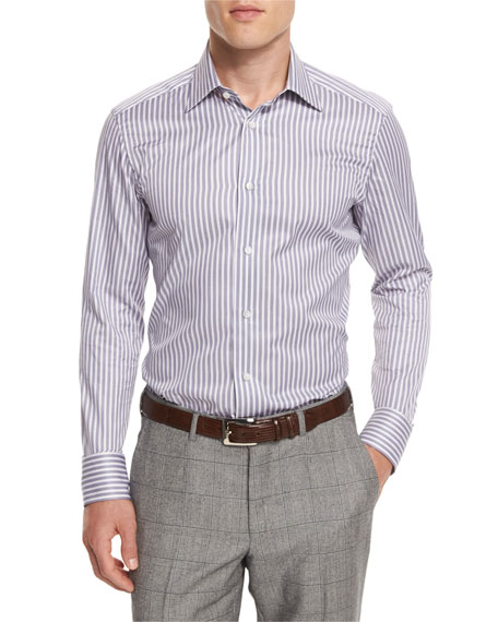 Ermenegildo Zegna Bold-Striped Long-Sleeve Sport Shirt