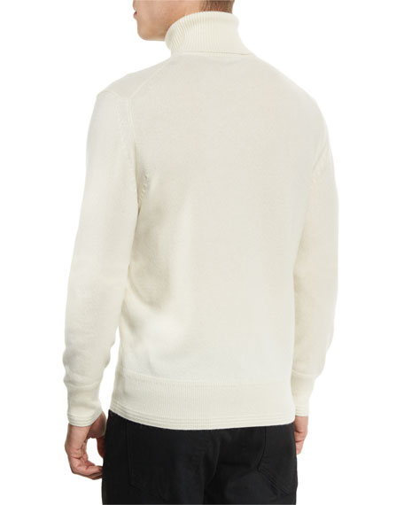 Classic Flat-Knit Cashmere Turtleneck Sweater, Ivory