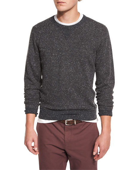 Brunello Cucinelli Donegal Crewneck Sweatshirt, Charcoal