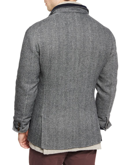 Double-Face Wool-Blend Blazer, Medium Gray/Cobalt
