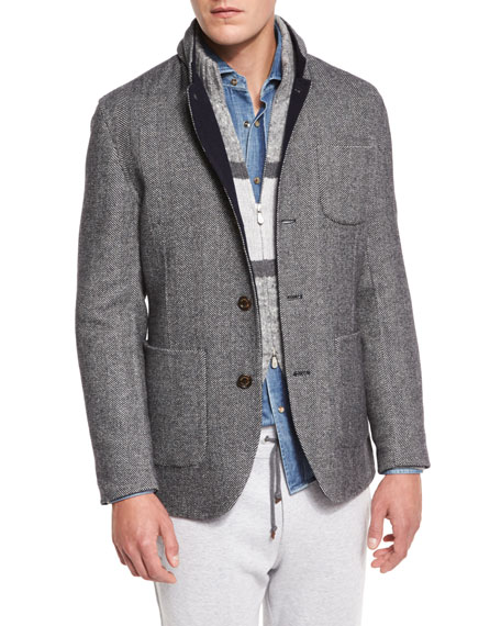 Brunello Cucinelli Double-Face Wool-Blend Blazer, Medium Gray/Cobalt