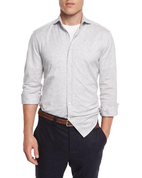 Brunello CucinelliKnit Long-Sleeve Sport Shirt