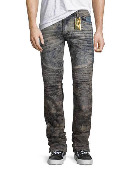 Robin's Jeans Flap-Pocket Slim-Fit Biker Jeans, Gray