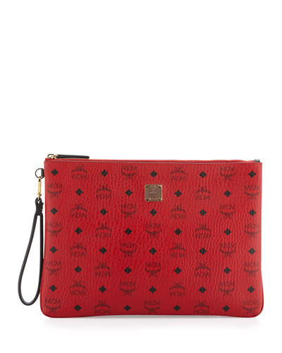 Monogram Canvas Zip-Top Pouch, Ruby Red