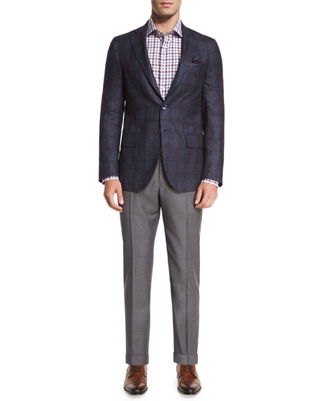 Twill Flat-Front Trousers, Light Gray