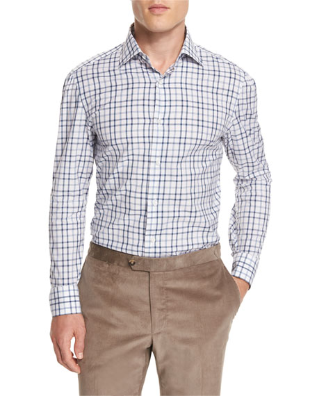 Windowpane-Check Long-Sleeve Sport Shirt, Blue