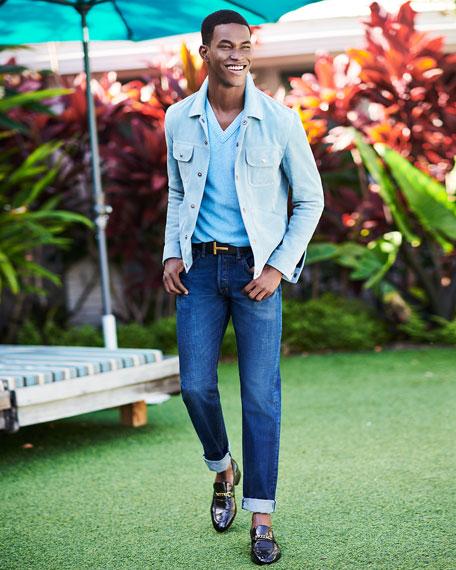 Regular-Fit Selvedge Harrison Wash Denim Jeans