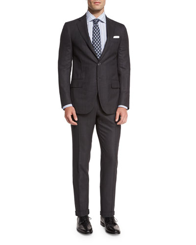 Super 160s Wool Birdseye-Stripe Two-Piece Suit, Gray