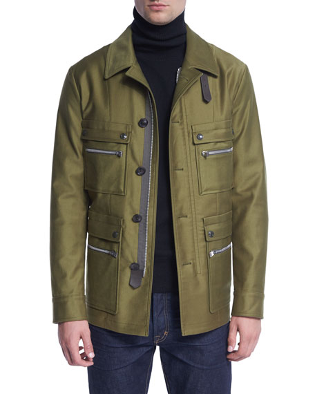 TOM FORD Satin-Cotton Field Jacket, Bright Olive