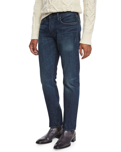 Straight-Fit Selvedge Harrison Wash Denim Jeans, Blue