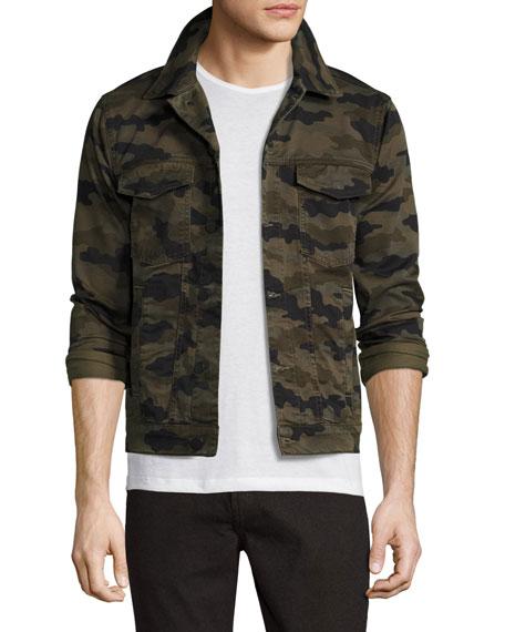 J Brand Jeans Gorn Camo-Print Denim Trucker Jacket