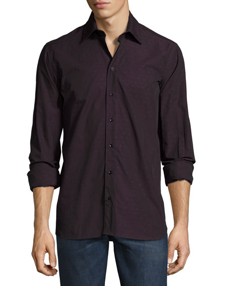 Sebastien James Gary Standard-Fit Tonal Dot Shirt