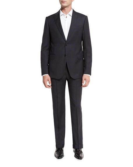 Plaid Wool Peak-Lapel Two-Piece Suit, Gray/Navy
