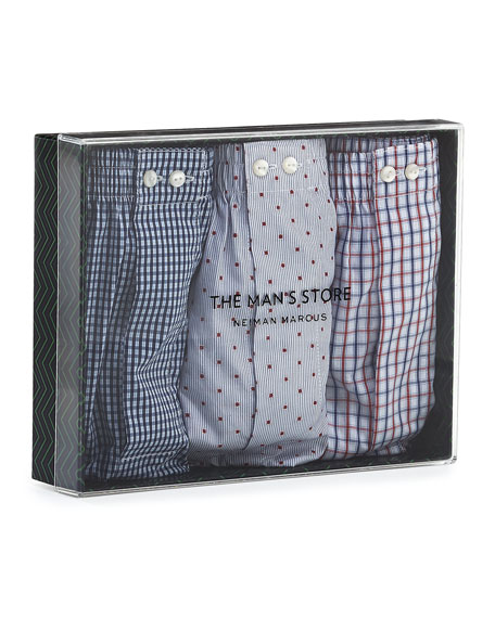 Full-Cut Boxer Three-Pack, Red/Blue/White
