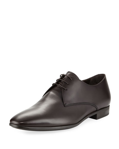 Leather Lace-Up Derby Dress Shoe, Brown