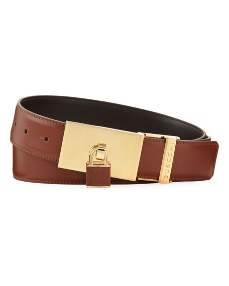 Buscemi Padlock-Buckle Leather Belt, Whiskey