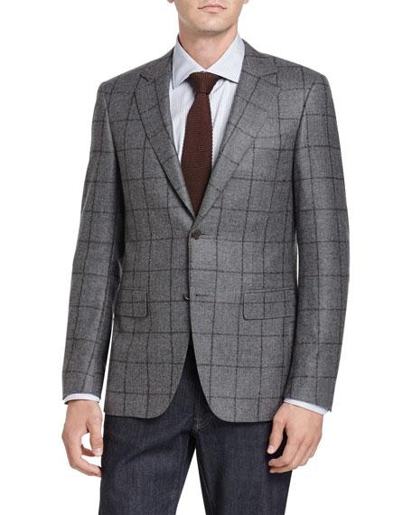 Canali Windowpane Two-Button Sport Coat, Gray/Brown