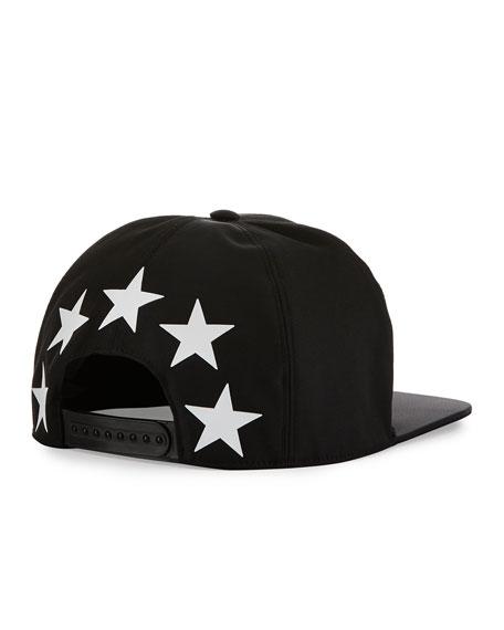 Flat Flat-Bill Star Hat, Black