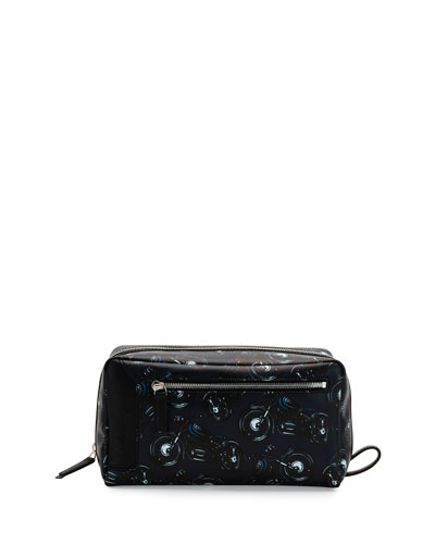 Oversized Motorcycle-Print Toiletry Case, Black