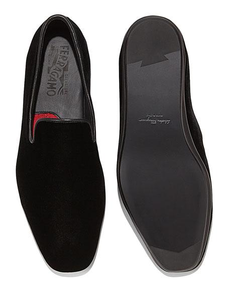 Men's Velvet Venetian Loafer, Black