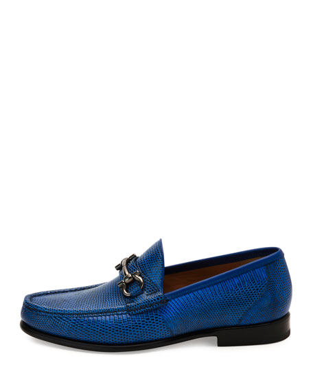 Men's Lizard Gancini Loafer, Royal Blue