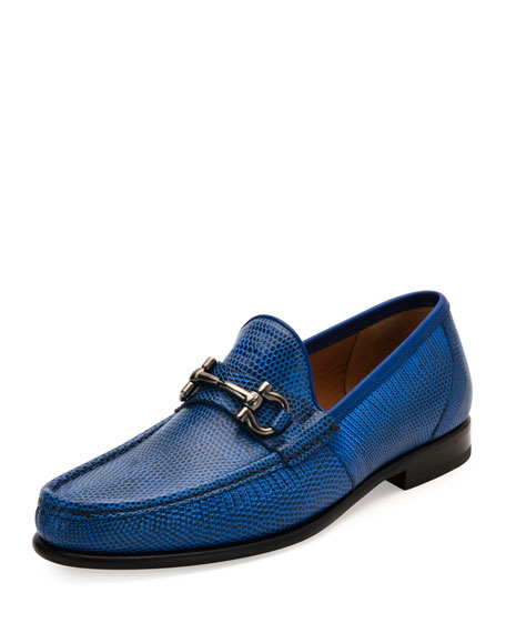 Salvatore Ferragamo Men's Lizard Gancini Loafer, Royal Blue