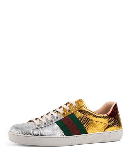 Gucci New Ace Snakeskin Low Top Sneaker Gold Silver