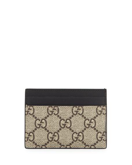 77b132768383 Gucci Bestiary Bee-Print GG Supreme Card Case | Neiman Marcus