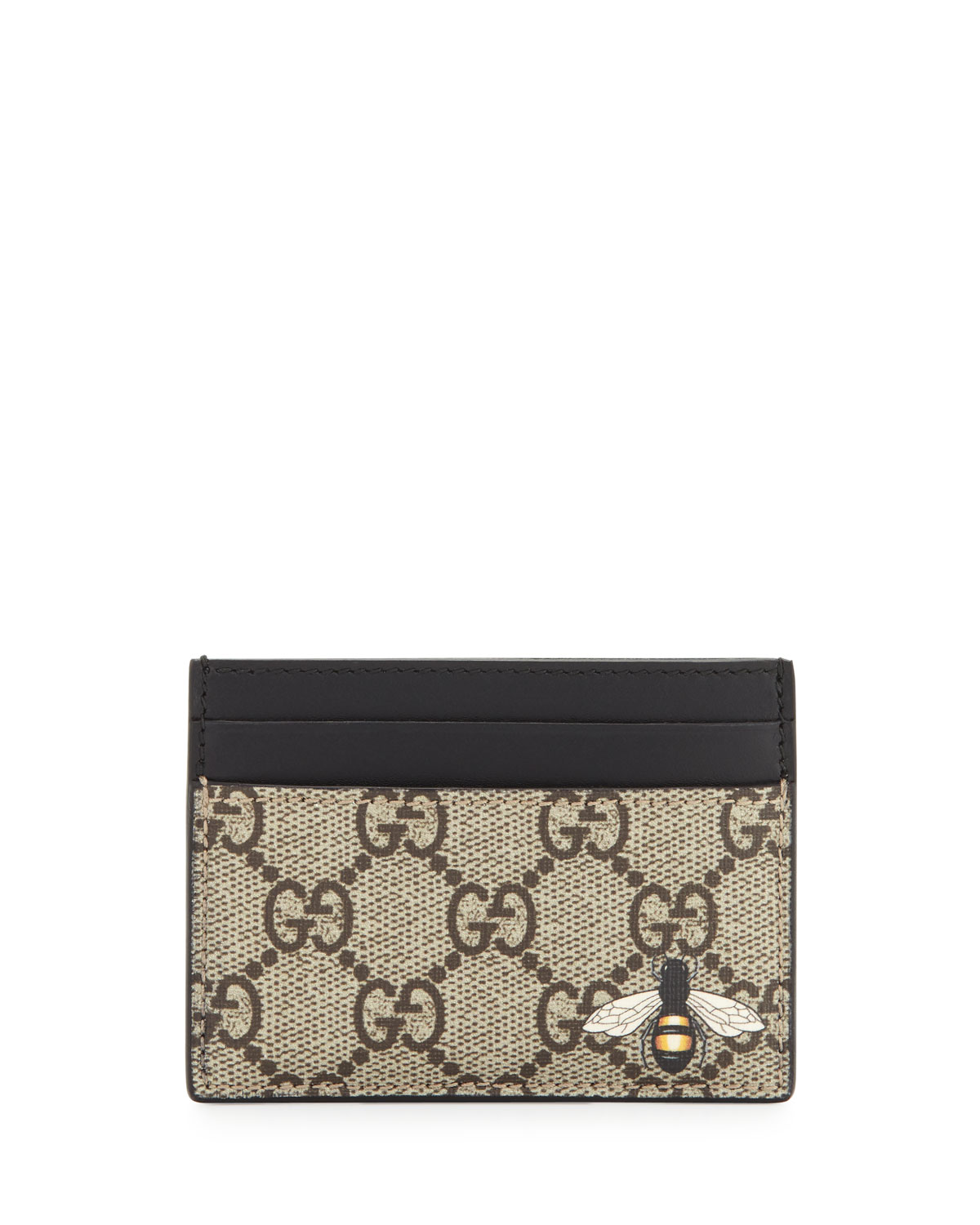 2af903416a824f Gucci Bestiary Bee-Print GG Supreme Card Case | Neiman Marcus
