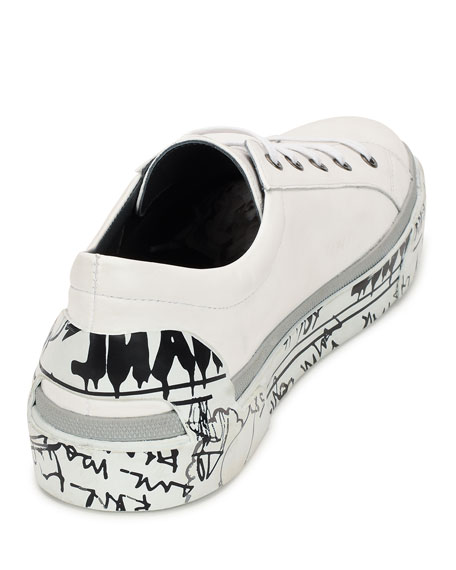 Men's Leather Graffiti-Sole Derby Sneakers, White