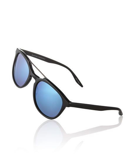 Men's Rainey Round Top-Bar Sunglasses, Black/Blue