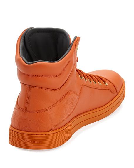 Men's Calfskin High-Top Sneakers, Orange