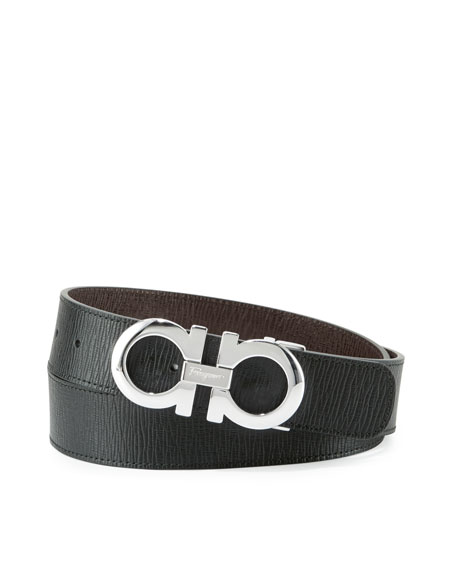 Men's Reversible Saffiano Gancini Buckle Belt, Black/Hickory