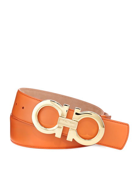 Salvatore Ferragamo Double-Gancini Buckle Belt, Orange