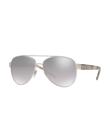 Burberry Men's Acoustic Core Check-Temple Metal Aviator