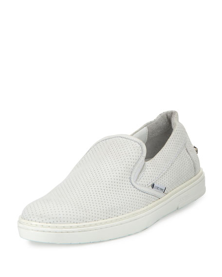 Grove Men's Perforated Leather Slip-On Sneakers, White