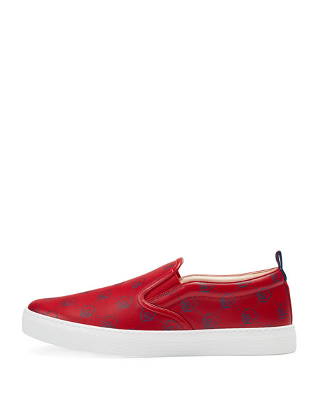 Gucci Ghost Leather Slip-On Sneaker, Red