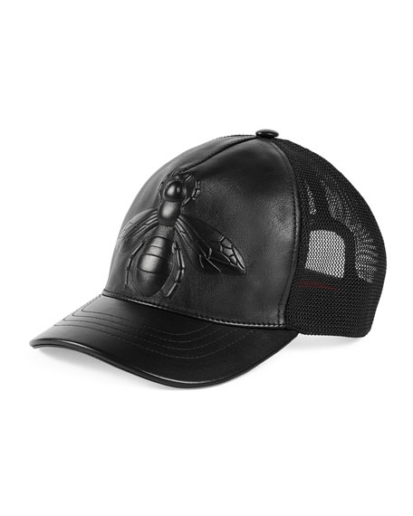Bee-Embossed Leather Baseball Hat, Black