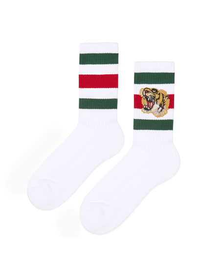 Stretch-Cotton Socks w/Tiger
