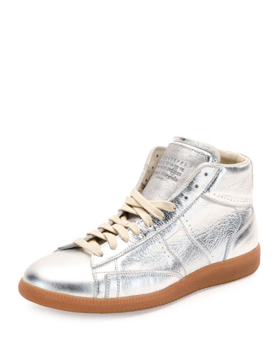 Replica Metallic Leather Mid-Top Sneaker, Silver/Amber
