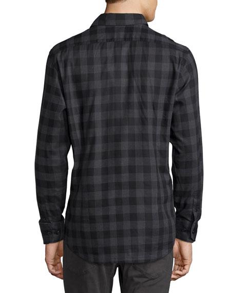 Buffalo Check Woven Sport Shirt, Black/Gray
