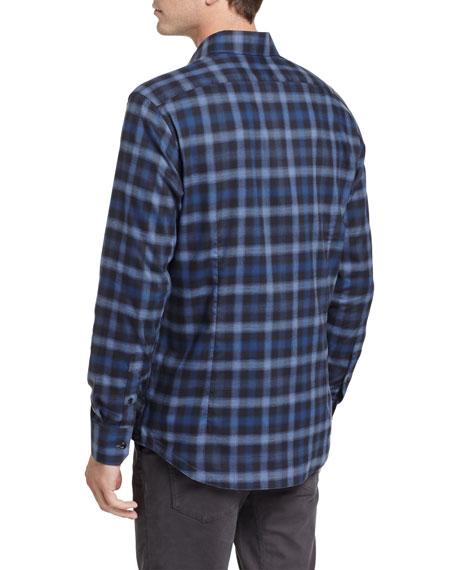 Shadow Plaid Sport Shirt, Navy