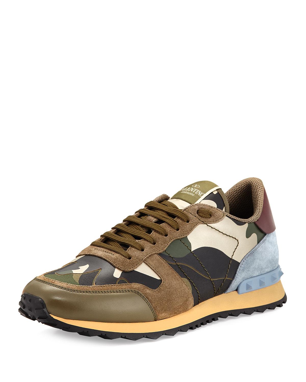 eedd7e1def10 Valentino GaravaniMen s Rockrunner Laminate Camo Leather Trainer Sneaker
